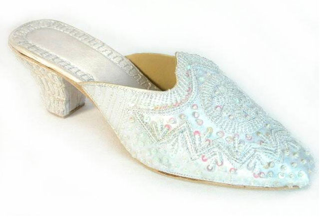Covered Beaded Wedding Mules Shoes